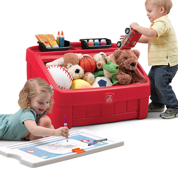2-IN-1 TOY BOX & ART LID(RED)-848900-