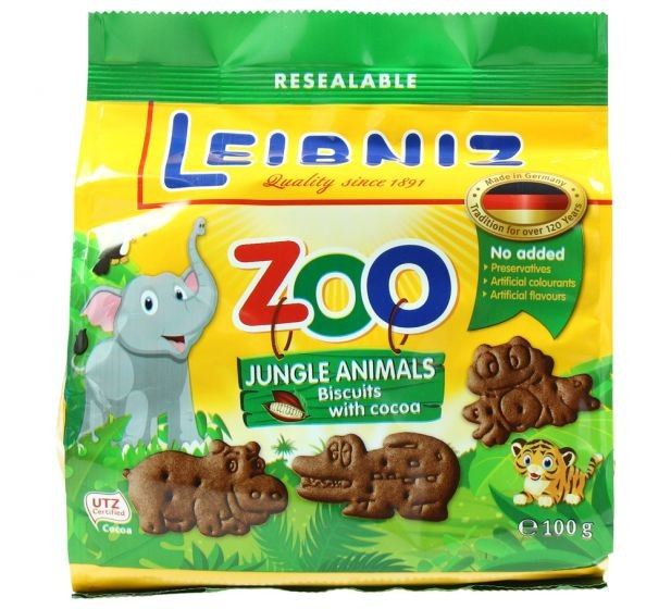 LIBNIZ ZOO JUNGLE ANIMALS BISCUITS WITH COCOA 100G