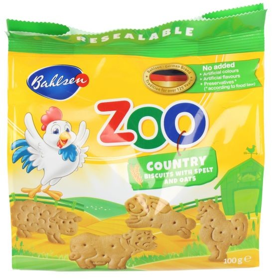 BAHLSEN ZOO COUNTRY BISCUITS WITH SPELT & OATS 100g