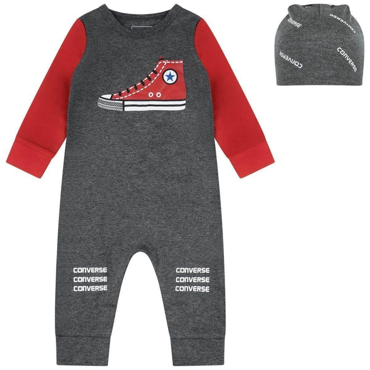 Converse Baby Boys Grey Coverall & Hat Set