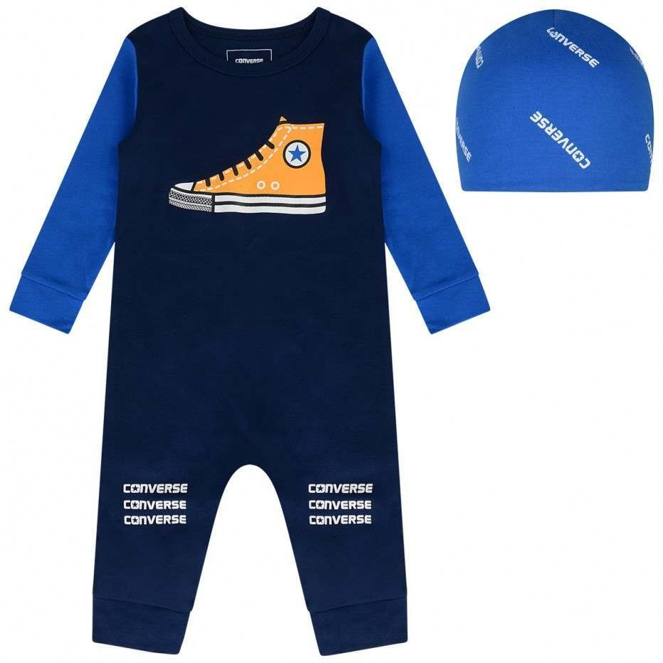 Converse Baby Boys Navy Coverall & Hat Set
