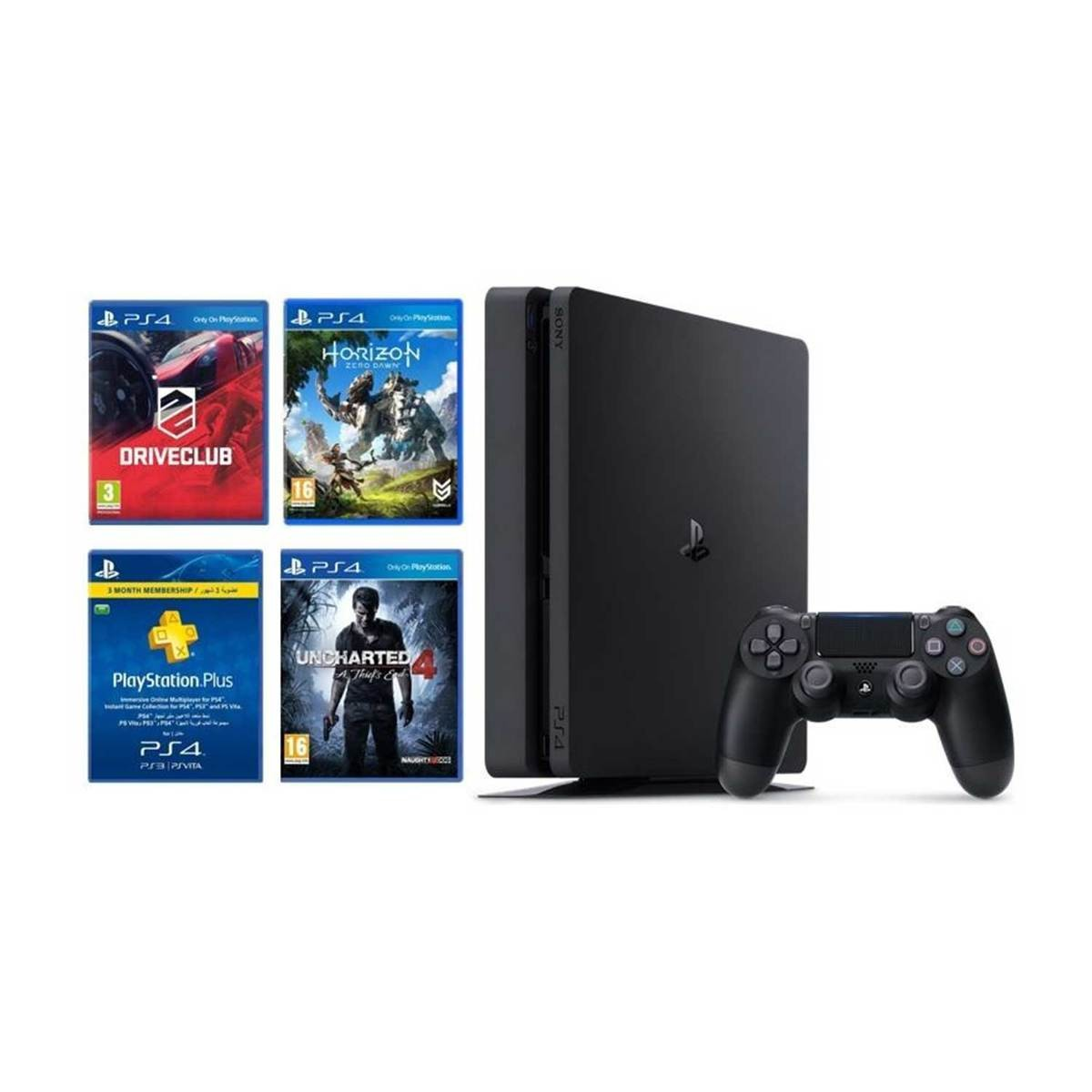 Sony PS4 500 GB + Horizon Zero Down+Uncharted 4+ Drive Club + 3 Month Membership Card
