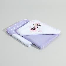 منشفة مع غطاء راس بطبعات كلور بلوك ميني ماوس طقم من 2 قطع
